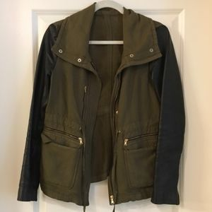 Zara Green Military Leather Sleeve Jacket